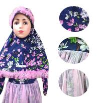 Baju Muslim Denim Bunga