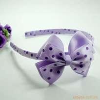 Purple Polkadot Ribbon Kid Hair Accessories