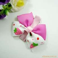 Pink Strawberry Ribbon Kid Hair Accessories