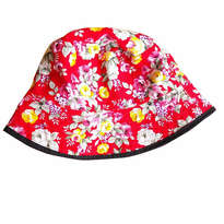 Topi Bucket Head Flower Red