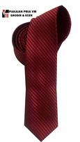 Dasi Slim Merah Polos Garis 2 inch