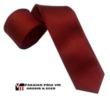 Dasi Slim Merah Polos Kotak 2 inch