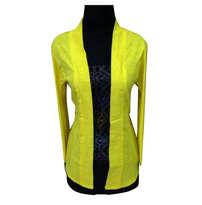 Baju Batik Kutubaru Emboss Panjang Kuning