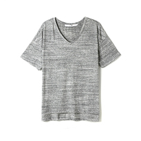 WOMENS V NECK SUMMER TEE GREY