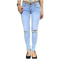 Celana Cut Knee Light Blue Jeans