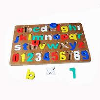 Mainan Edukatif / Edukasi Anak - Puzzle Balok Kayu - Little ABC and 123 / Puzzle Angka dan Huruf Alphabet Kecil