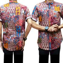 Short Batik Kepang Maroon