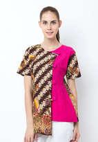 Blouse Batik Hokokai Kombinasi Embos Kancing Sanghai