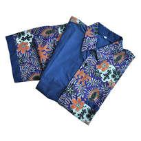 Kemeja Batik Lengan Pendek Kombinasi Ungu & Biru