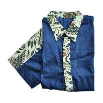 Kemeja Batik Lengan Pendek Kombinasi Biru & Krem