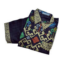 Kemeja Batik Lengan Pendek Motif Tenun dan Corak Warna Warni