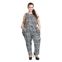 Ciguralika Zebra Short Sleeve Big Jumpsuit
