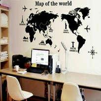 WALLSTICKER BUILDING MAP OF THE WORLD XL