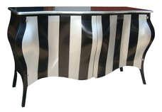 Commode Black Silver Stripes