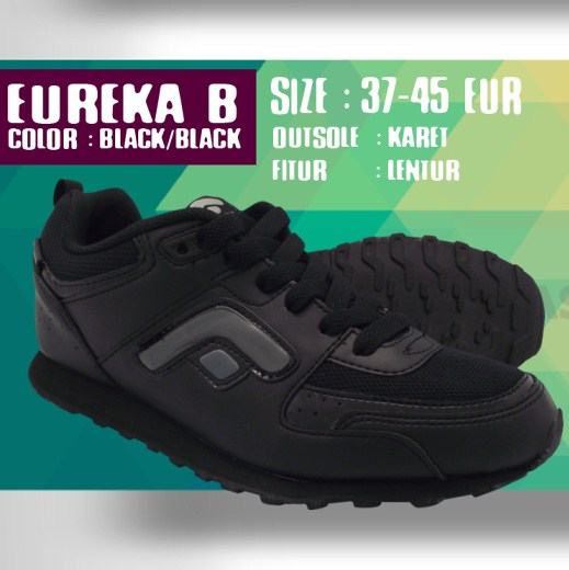 Jual Sepatu Olahraga Lari Pria Hitam Polos Fans Eureka B  8ad153b77c