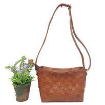 Tas Kulit Sling Bag Anyam Jahit 2 cm - Coklat Tua