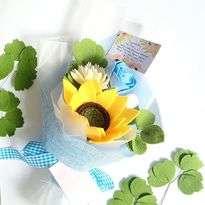 Bunga Flanel Blue Wide Rose, Vanilla Chrysanthemum and Sunflower
