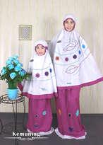 Mukena Couple Kemuning Dewasa (XL) dan Size S (Anak Umur 2-3th)