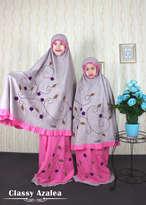 Mukena Couple Classy Azalea Size Dewasa (XXXL) & Size S (Anak Umur 2-3th)