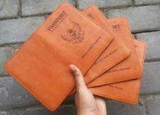 Passport Case Leather Vegtan Gambar Burung Garuda