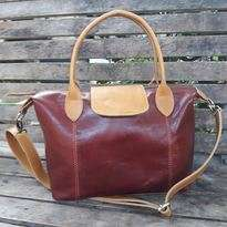 Longchamp Kulit Maroon - Two Tones