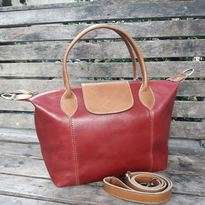 Longchamp Kulit Merah - Two Tones