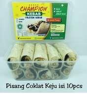 Kebab Frozen HALAL LP-POM MUI NO. 03010017410617. By. Champion Kebab Pisang Coklat Keju isi 10