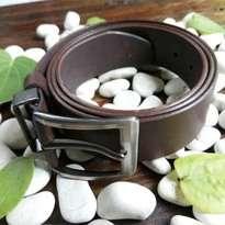 ikat pinggang kulit asli sapi warna coklat (sabuk kulit asli)
