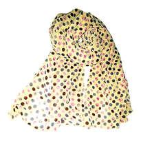Pashmina Chiffon Motif Polka Dot Kuning UD100